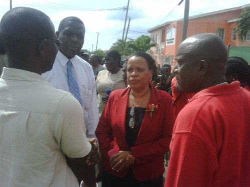 Permanent Secretary Lana Mc Phail with Labour Commissioner Cyrus Griffith (in white shirt and blue tie)
