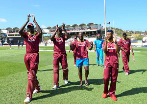 West Indies team members after drawing the recent series with England 2-2